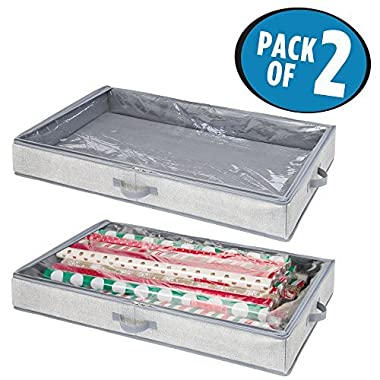 mDesign Soft Fabric Gift Wrap Storage Organizer Holder Box - Low Profile, Easy-View Clear Top Panel, Attached 2-Way Zippered Lid, Side Handles, Stores Long Rolls of Gift Wrap, Pack of 2, Gray