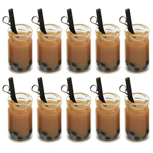 EXCEART 20 Piezas de Colgantes de Té de Leche en Miniatura Colgantes de Resina de Perlas Dijes de Té de Leche Minibotella Colgante de Joyería para Manualidades Pendientes Accesorios para