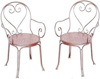 Outdoor Garden Table Desks and Chairs Set Rust-Resistant Cast Aluminum Patio Bistro Set White Cast Retro Style Garden Furn...
