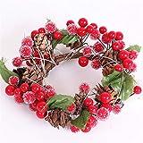 LEDイルミネーションクリスマスリース、ベリー飾り、クリスマスの飾り用暖炉ウィンドウフレーム、10センチメートルクリスマスの飾りペンダント