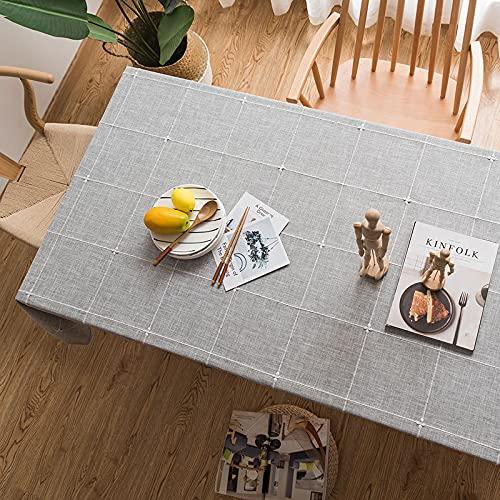 NHhuai fácil de Limpiar, para jardín, Habitaciones, decoración de Mesa, Tela Escocesa Bordada de algodón y Lino