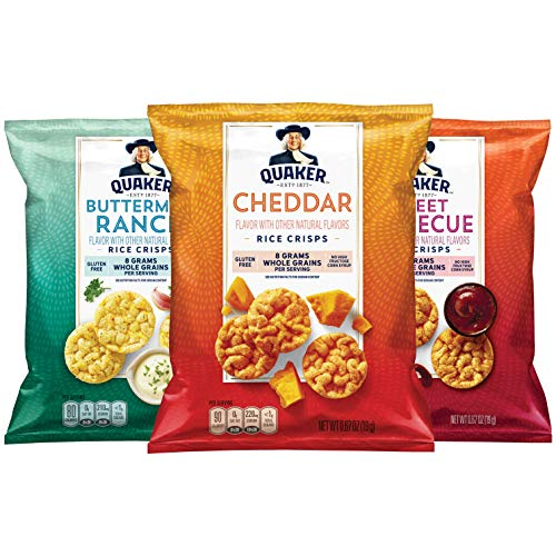 Quaker Rice Crisps, Gluten Free, 3 Flavor Savory Variety Mix, Single Serve 0.67oz, 30 count Savory Variety Pack,20.1 Ounce