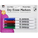 Charles Leonard Dry Erase Markers, Pocket Style with Bullet Tip, Assorted Colors, 4-Pack (47804)