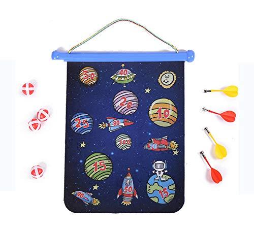 Magnetische Dartscheibe für Kinder - 2-seitige Roll-Up-Dartscheibe, Indoor-Spiele für Kinder mit 4 magnetischen Darts und 4 Dartbällen (Platz, 38cm)