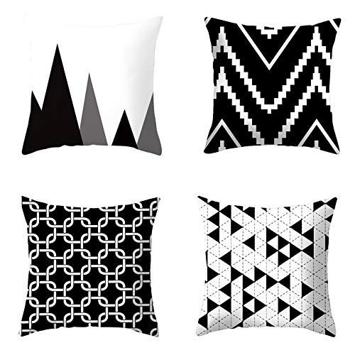 Yokawe Fundas De Almohada, 4 Piezas Fundas De Almohada con Diseño Geométrico Fundas De Almohada Decorativas para Sofá para Sala De Estar, Dormitorio 4 Piezas geométricas