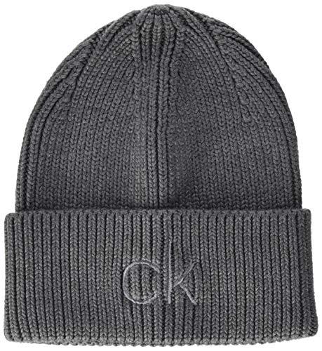 Calvin Klein Damen Beanie Hut, Mittelgrau meliert, Einheitsgröße