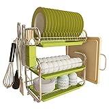 Warmiehomy 3-Niveles Escurridor de Platos de Acero Inoxidable, Escurreplatos de Platos con Bandeja de Goteo, 43 X 25 X 44cm, Verde
