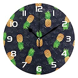 Dozili Fruit Pineapple Decorative Wooden Round Wall Clock Arabic Numerals Design Non Ticking Wall Clock Large for Bedrooms, Living Room, Bathroom