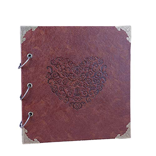 Uheng 10'X10' Heart-Shaped Leather Cover Black Page Scrapbook Photo Album Baby Journal Album 50 Pages (25 Sheets), Family DIY Wedding Family Holiday Vacation Anniversary Photography Book