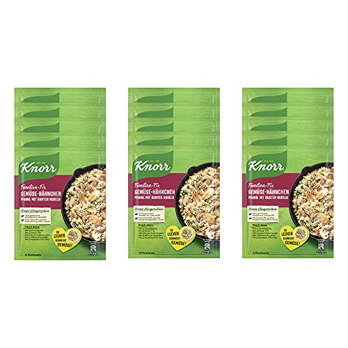 Knorr Fix Gemüse-Hähnchen Pfanne mit bunten Nudeln, 15er-Pack (15 x 4 Portionen)