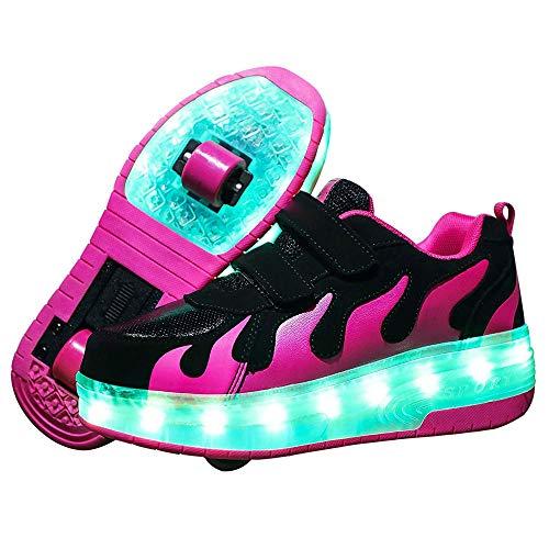 WYYZSS Rodillos En Ruedas LED para Niños/Niñas, Patines con Ruedas USB, Patines para Niñas, Niños, Luces LED para Niños, Zapatos para Bicicletas, Patines, Zapatillas, Zapatos, Ruedas,40