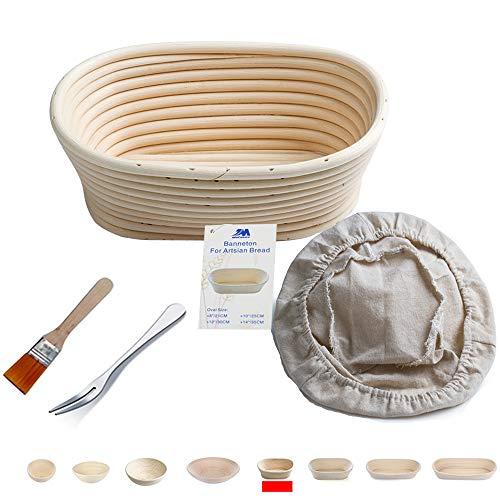 Cestino ovale in vimini per la lievitazione di pane e impasti di 400 g, dimensioni: 20 cm ca., con spazzola, rivestimento in tessuto e forchetta apposita…