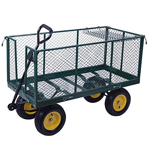 HOMCOM Chariot de Transport Jardin remorque à Main charrette à Bras 4 Roues dim. 120L x 57l x 50H cm Charge Max. 350 Kg Acier Vert