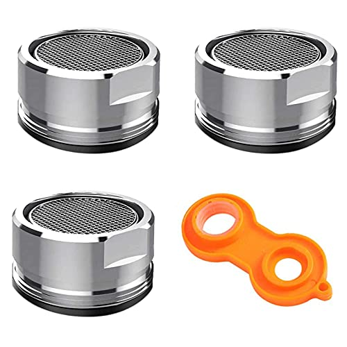 3 Pack Faucet Aerator Bathroom Sink Aerator, Kitchen Faucet Aerator Replacement Parts with Brass Shell, 15/16-Inch 24mm Male Thread Aerators Faucet Filter with Gasket and a Faucet Aerator Wrench