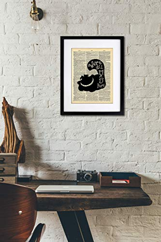 Cheshire Cat Silhouette - We're All Mad Here Wall Art - Vintage Art - Authentic Upcycled Dictionary Art Print - Home or Office Decor - Inspirational And Motivational Quote Art
