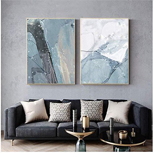 Refosian abstracto lienzo pintura gris azul arte impresión cuadro de pared decoración de sala de estar 50x70 cm / 19,6x27,5 en sin marco