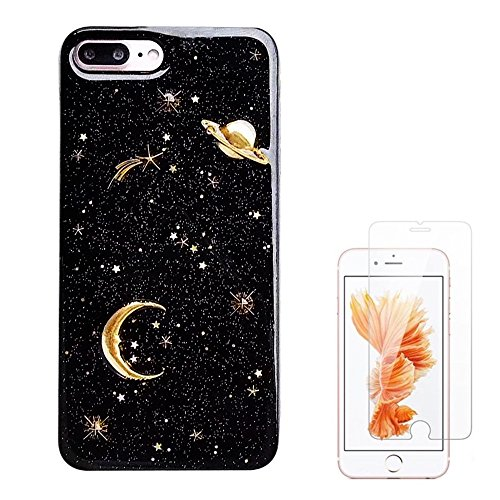 Liquid case for iPhone 6/6 Plus/iPhone 7/7 Plus/iPhone 8/8 Plus/iPhone x/10 Luxury Bling Glitter Sparkle Stars Case with Screen Protector (Star Glitter Black, iPhone 7/8 Plus (5.5 inch))