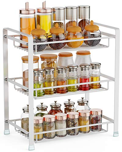 Spice Rack, Cambond 3 Tier Seasoning Rack Organizer, Kitchen Bathroom Countertop Standing Storage Shelf, White