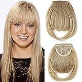 8'/20CM Frange a Clip Cheveux Rajout Extension a Froid Postiche Fausse Franges pas Cher - Ash Blond Ombre Blond Blanchi