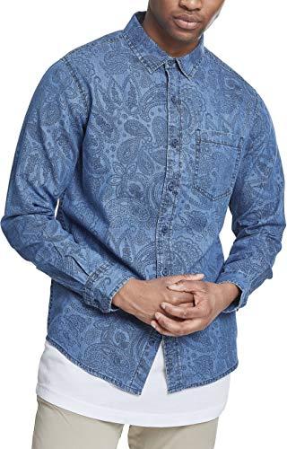 Urban Classics Herren Printed Paisley Denim Shirt Jeanshemd, Blau (Medium Blue Wash 01399), Kragenweite: Small cm