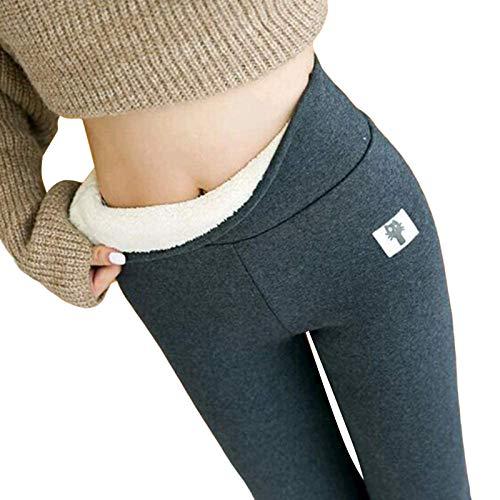 Leggings Cálidos para Mujer Mallas de Deporte de Mujer Cintura Alta Elásticos Pantalones Yoga Leggings Invierno (Gris, XXXL)