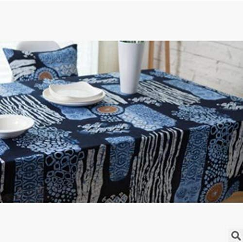 EDCV tafelkleed Home bruiloft decor rechthoekige tafel dekken Multi grootte linnen tafelkleed Batik mediterrane Bohemen Mexicaanse partij, blauw