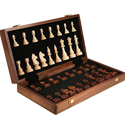 Aveo Schachspiel Holzschach, faltbares Schachspielbrett mit tragbarem, klappbarem Innenlager Reiseschachspielbrett Schach (Größe : 39cm)