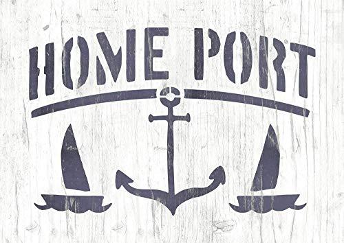 Rustikale Maritime Schablone Home Port mit Anker und Segelschiffen