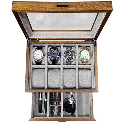 Caja de reloj con cajón de valet Vitrina de madera maciza para grandes relojes de pulsera para hombre Organizador con joyería, gafas de sol y almacenamiento de correa de reloj