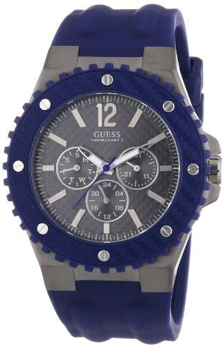 GUESS W11619G2 - Reloj analógico de Cuarzo para Hombre con Correa de Caucho, Color Azul