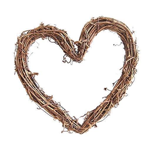 Fenteer Front Door Wreath for All Seasons Flower Garland Round/Heart/Star Shape,Perfect Front Decorations for Home Garden - as described, 20cm Heart Shape