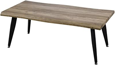 ZONS Alexus Table Basse au Style Industriel Pieds en métal, Bois et Noir,