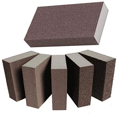 6PCS Sanding Blocks for Wood Furniture Finishing Drywall Painting Automotive Polishing Dry or Wet Sand Paper Brick Coarse Medium Fine Superfine(80 100 120 150 Grade)