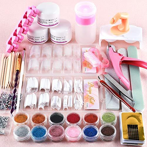 Saint-Acior Acryl Nagelset Nail Art Set professionelle Nageldesign Acrylpulver Strasssteine Dekoration Kits Weihnachtsgeschenke für Frauen
