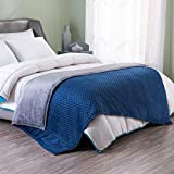 ART DEMO Home Weighted Blanket with Removable Cover, 15lb, Twin Size Bed, for Individual Between 140-190 lbs, Navy
