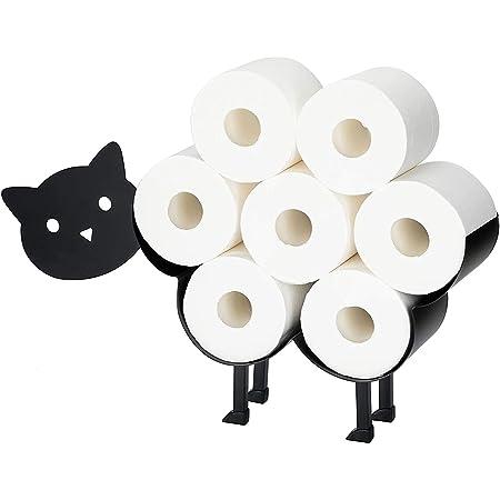 Porte Papier Toilette sur Pied - Rangement Papier Toilettes - Accessoires WC - Décoratif Innovants en Forme De Mouton/Chaton - en Métal Noir - Porte Rouleau Papier Toilettes#1 AGLZIYS