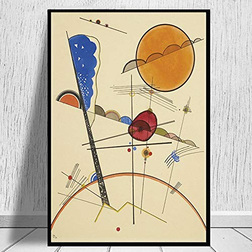 MJKLU Abstract Geometric Line Wassily Kandinsky Artworks Point and Line to Plane Canvas Painting Wall Art Poster Bedroom Living room Office Studio Home Decor