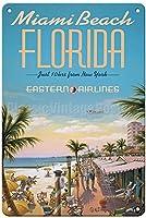 フロリダ州マイアミビーチ、ブリキの看板ヴィンテージ面白い生き物鉄の絵画金属板ノベルティ