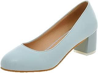 VogueZone009 Women's Pu Kitten-Heels Round-Toe Solid Pumps-Shoes, CCADP010299