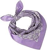 Tobeni 548 Bandana Head- Pañuelos para el Cuello de Tela 100% Algodón Unisex Color Paisley Morado Claro Tamaño 54 cm x 54 cm