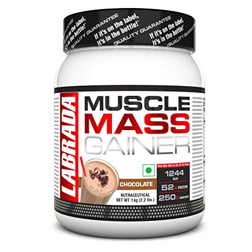 Labrada Muscle Mass Gainer (Gain Weight, Post-Workout, 52g Protein, 250g Carbs,1g Creatine, 500mg L-Carnitine, 3 Servings) - 2.2 lbs (1 kg) (Chocolate)