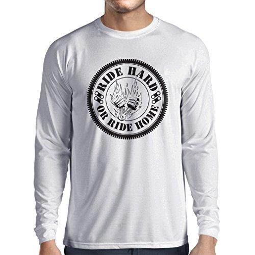 N4688L Camiseta de Manga Larga Ride Hard! Biker Clothing (Medium Blanco Multicolor)