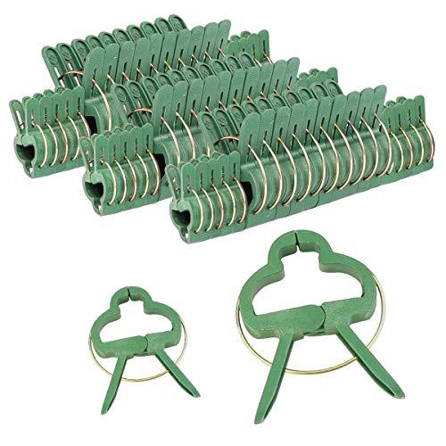 Mengxin 60 Piezas Clip de Planta Dos Tamaños Ajustable Clip Tomate Herramientas Jardinería Reutilizable para Vid Tallos Pepino Verde Oscuro