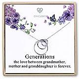 CHICLOVE Collar de Plata esterlina con 3 círculos - Collar Generación - Collares Madre Abuela...