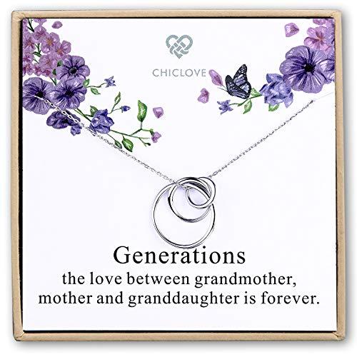 CHICLOVE Sterling Silber 3 Kreise Halskette - Generation Halskette - Großmutter Mutter Tochter Halsketten - Familie Halskette - Oma Geschenk - Mutter Tochter Halskette