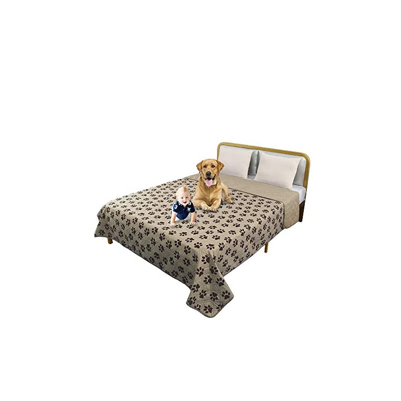dog supplies online ttlucky resuable paw printed waterproof pet blanket reversible dog bed cover,soft furniture protector cover for kids pet puppy (52 x 82 in,beige/chocolate)