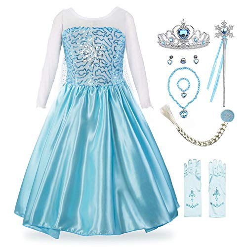 Padete Little Girls Princess Dress Snow Party Queen Halloween Costume (5 Years, Light Blue with Accessories)