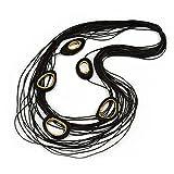 Collana Lunga Multistrato Nera Cerata con Maglia Ovale in Legno Dorato, Lunghezza 116 cm