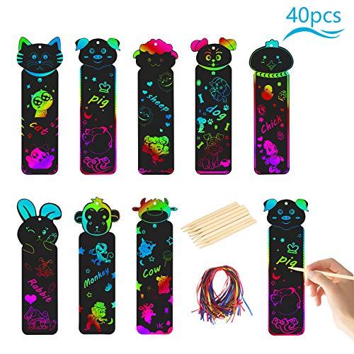 LANMOK Scratch Art Bambini,40 PCS Segnalibro Art bambini Animale Graffiti Colorati Esercitare l'immaginazione dei Bambini Cartoleria Penna di Legno Strumenti per Bambini Regalo