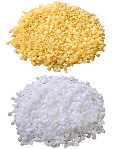 TooGet Pure White Beeswax Pellets 7OZ Yellow Beeswax Granules 7OZ - 100% Natural Beewax Beads, Cosmetic Grade, Premium Quality - 14 OZ